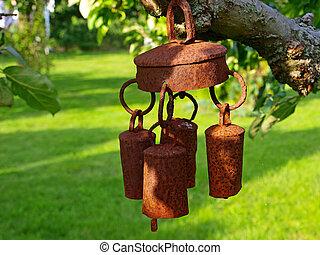 jardín, campana, carillones del viento