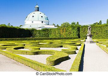 jardín, checo, palacio, república, kromeriz