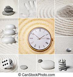 jardín, collage, -, japonés, time., stones.