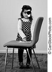 jardín de infantes, niños, visión, cheque
