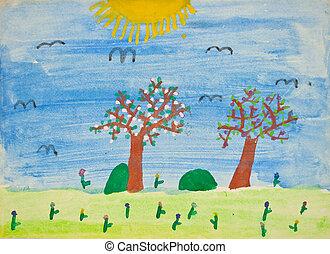 jardín de infantes, pintura, niño