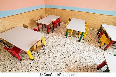 jardín de la infancia, cantimplora, refectorio
