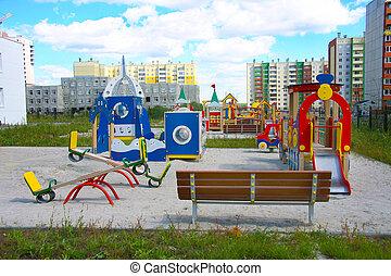 jardín de la infancia, en, nuevo, ciudad, área