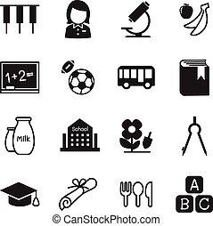 jardín de la infancia, escuela, educación, iconos, vector, ilustración, símbolo, 2