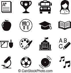 jardín de la infancia, escuela, educación, iconos, vector, ilustración, símbolo