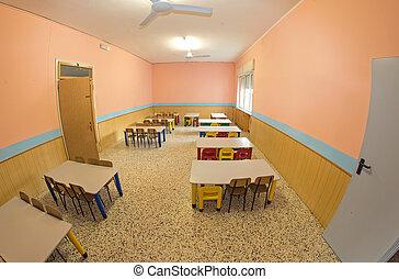 jardín de la infancia, pequeño, cafeteria, benche, ...