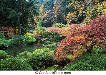jardín, de madera, japonés, oregón, portland, puente