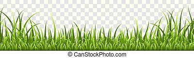 jardín, elementos, o, natural, verde, eco, border., aislado, vector, primavera, pasto o césped, panorama, pradera, césped