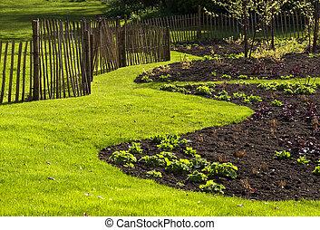 jardín, en, primavera