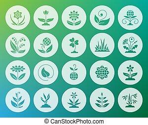 jardín, forma, tallado, plano, iconos, vector, conjunto