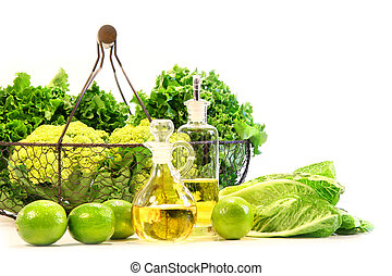 jardín, fresco, veggies, con, cales