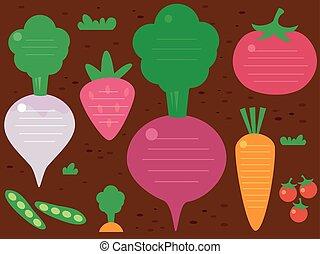 jardín, fruits, vegetales, plano de fondo, ilustración