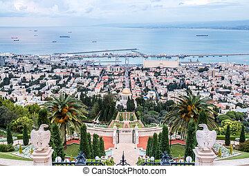 jardín, haifa, panorama, -, israel, bahai, puerto