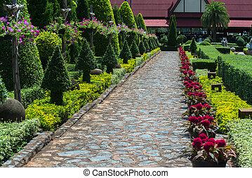 jardín inglés, en, verano
