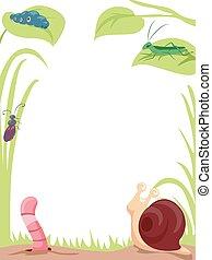 jardín, insectos, plano de fondo, ilustración