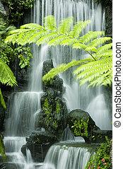jardín japonés, cascadas