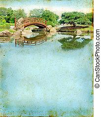jardín japonés, puente, en, un, grunge, plano de fondo