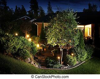 jardín, luces, iluminación