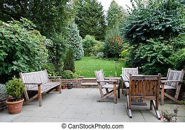 jardín, mobiliario de patio