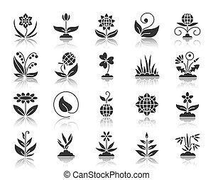 jardín, negro, silueta, iconos, vector, conjunto