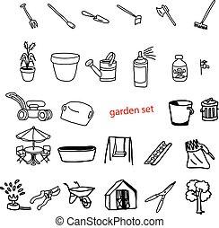 jardín, objetos, ilustración, mano, vector, dibujado, ...