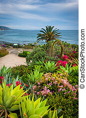 jardín, pacífico, parque, océano, heisler, laguna, vista