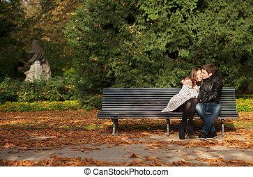 jardín, pareja, parís, luxemburgo, francia, fall., romántico