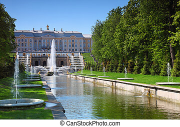 jardín, peterhof, palacio, s., fuentes, cascada, petersburg...