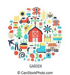 jardín, plano, infographics, iconos, en, círculo, -, color, concepto, ilustración, para, jardín, cubierta, emblema, template.