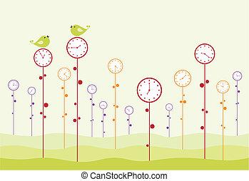 jardín, reloj