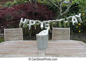 jardín, señal, fiesta de cumpleaños, hogar, feliz