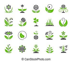 jardín, simple, color, plano, iconos, vector, conjunto