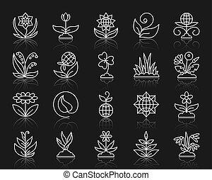 jardín, simple, línea blanca, iconos, vector, conjunto