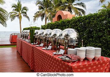jardín, smorgasbord, restaurante, alimento, -, opción
