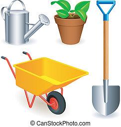 jardín, tools.