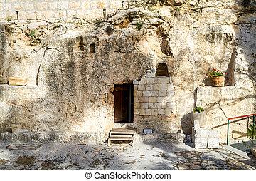 jardín, tumba, jerusalén