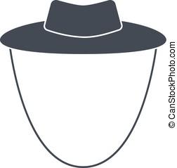 jardín, vaquero, aislado, ilustración, vector, sombrero, plano de fondo, blanco, o