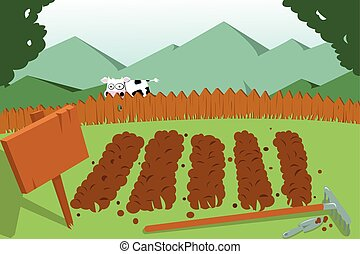 jardín vegetal, vaca