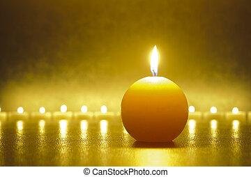 jardín zen, con, vela, luces