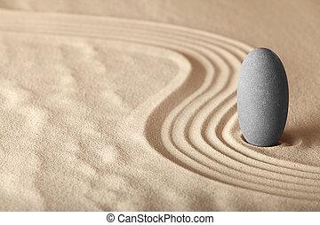 jardín zen, symplicity, y, armonía, forma, un, plano de...