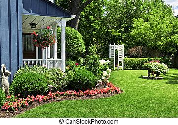 jardíndelantero, de, un, casa