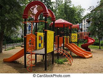 jarda, crianças, pátio recreio