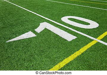 jarda, dez, futebol, -, linha