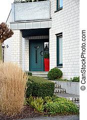 jarda dianteira, entrada, modernos, porta