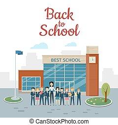 jarda escola, pupilas, costas, professor, school.