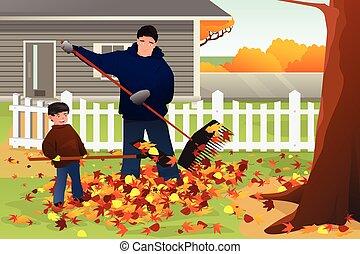 jarda, estação, folhas, pai, filho, raking, outono, durante