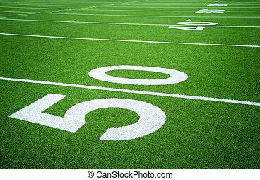 jarda, futebol, 50, campo, americano, linha, vazio