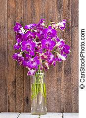 jarda, madeira, tropicais, buquês, tabela, flores, orquídea