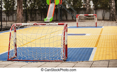 jarda, meta, campo futebol americano, pátio recreio, pequeno, futebol, crianças