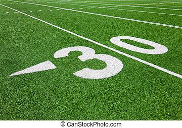jarda, trinta, futebol, -, linha